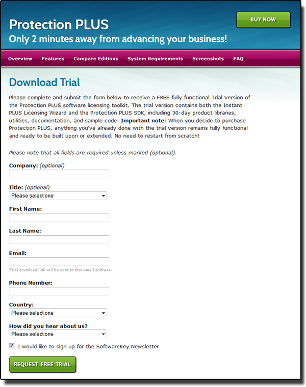Sample Trial Request Form