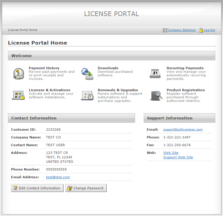 Customer License Portal