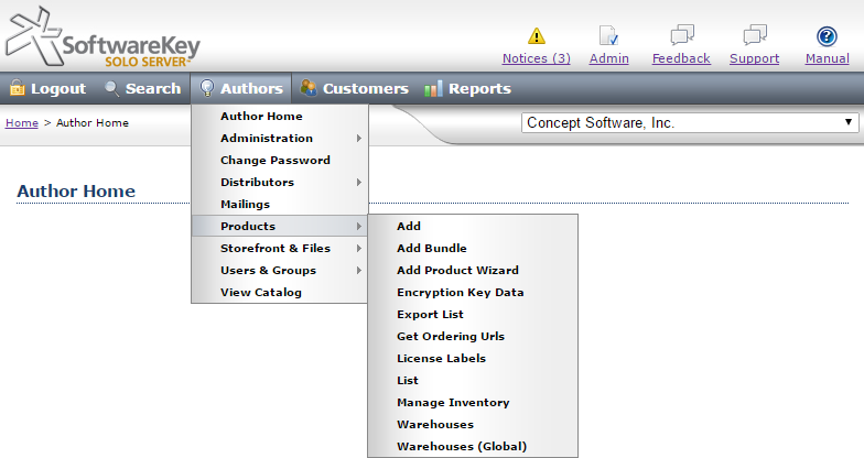 Instant SOLO Server previous menu interface
