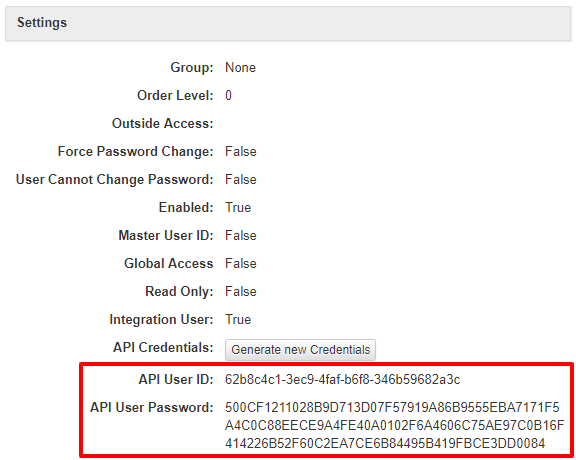 SOLO Server Settings API User ID Password