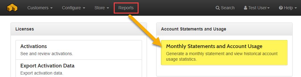 Monthly Statement Account Usage