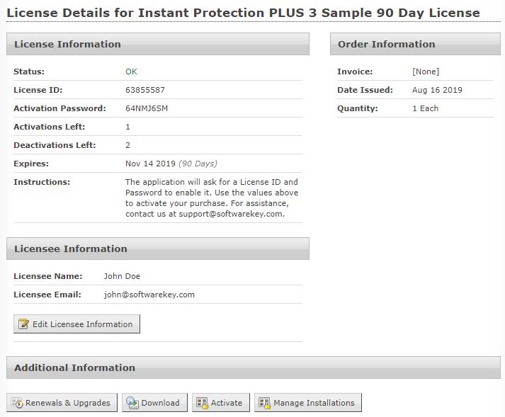 Customer License Portal License Details