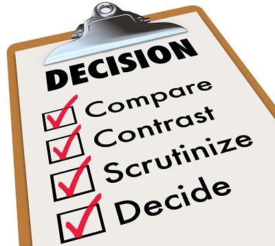 Clipboard with list of checked items to help with making a decision.